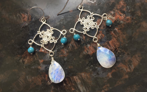Spa-side Chandeliers, Moonstone and Turquoise, Sterling Silver