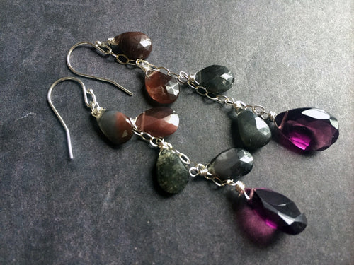 Spekolite Cascade Earrings, Plum quartz, sterling, RARE OOAK