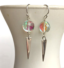 Load image into Gallery viewer, Fire Opal Spike Earrings, OOAK