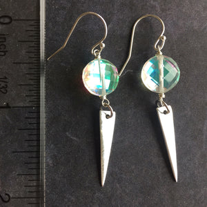 Fire Opal Spike Earrings, OOAK