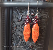 Load image into Gallery viewer, Bellissima Coral and Garnet Statement Earrings, OOAK