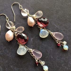 Spring Ahead Pearl Rose Quartz Dangles OOAK