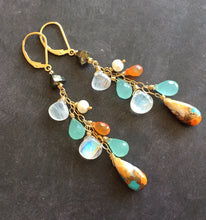 Load image into Gallery viewer, ( see description ) Spring Whimsy Turquoise, Chalcedony. Carnelian and Moonstone and Pearl Cluster Earrings- OOAK