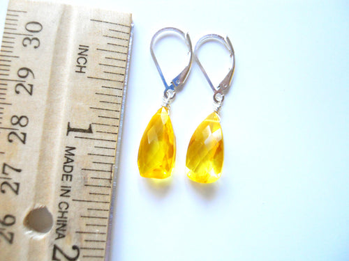Lemon Sun Drop Pyramid Cut Earrings
