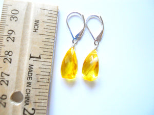 Lemon Sun Drop Pyramid Cut Earrings, Color of the Year 2021