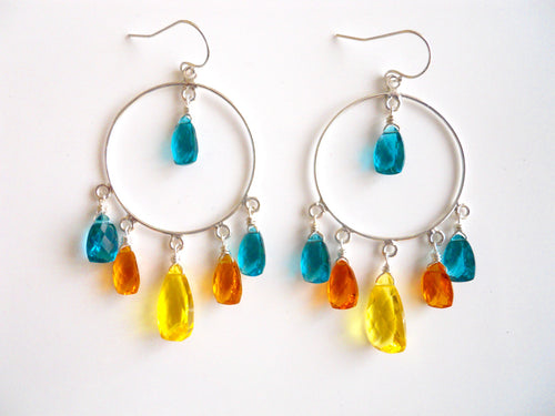 Yellow blue orange gemstone hoop earrings
