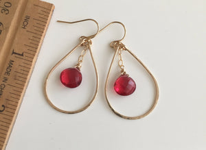 "Suzy Hammered 1.25"" Hoop Earrings with Ruby Red Quartz,  Size: Small, Metal options"