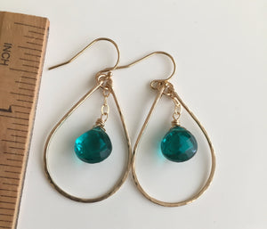 "Suzy Hammered 1.25"" Hoop Earrings with Teal Quartz,  OOAK Size: Small, Metal options"
