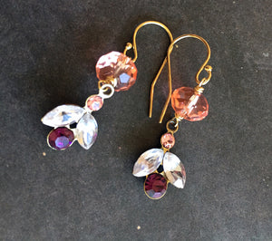 Modern Vintage Swarovski Crystal Dangle Earrings, Petal, Gold Filled