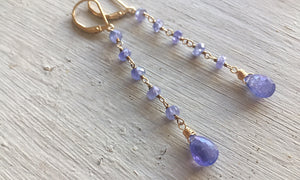 Tanzanite Dangle, Gold, Silver or Rose Gold