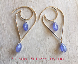 Moon and Wave - Tanzanite Teardrop Earrings