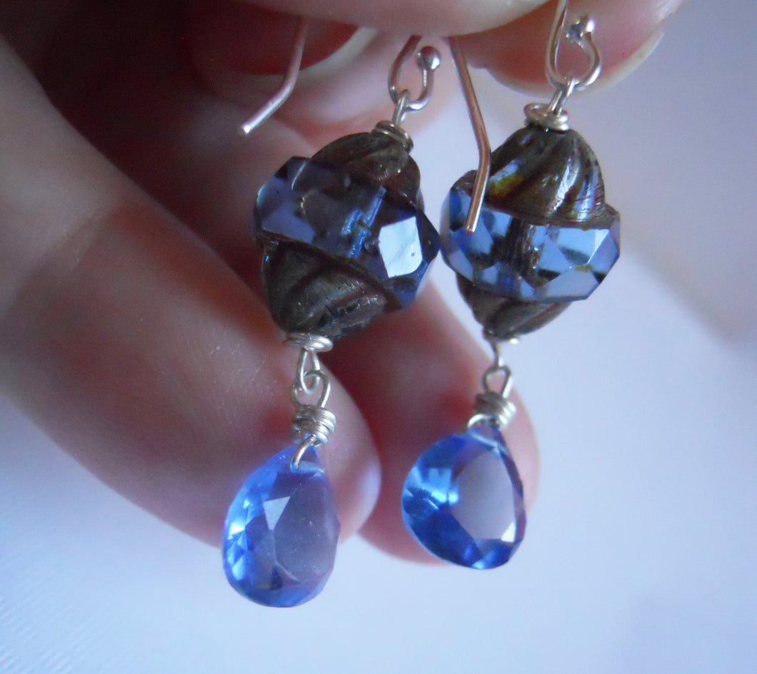 Tanzanite twist Czech Glass and Quartz Earrings, Sterling, Gold or rose Gold