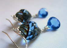 Load image into Gallery viewer, Tanzanite twist Czech Glass and Quartz Earrings, Sterling, Gold or rose Gold