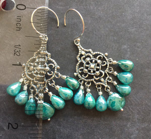 Filigree Earrings with Teal Silverite