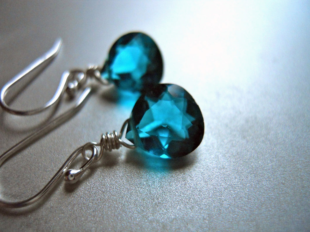 Teeny Paraiba Blue Earrings - Sterling or Gold Available