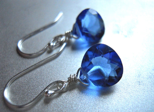 Teeny Bright Sapphire Earrings - Sterling or Gold Available
