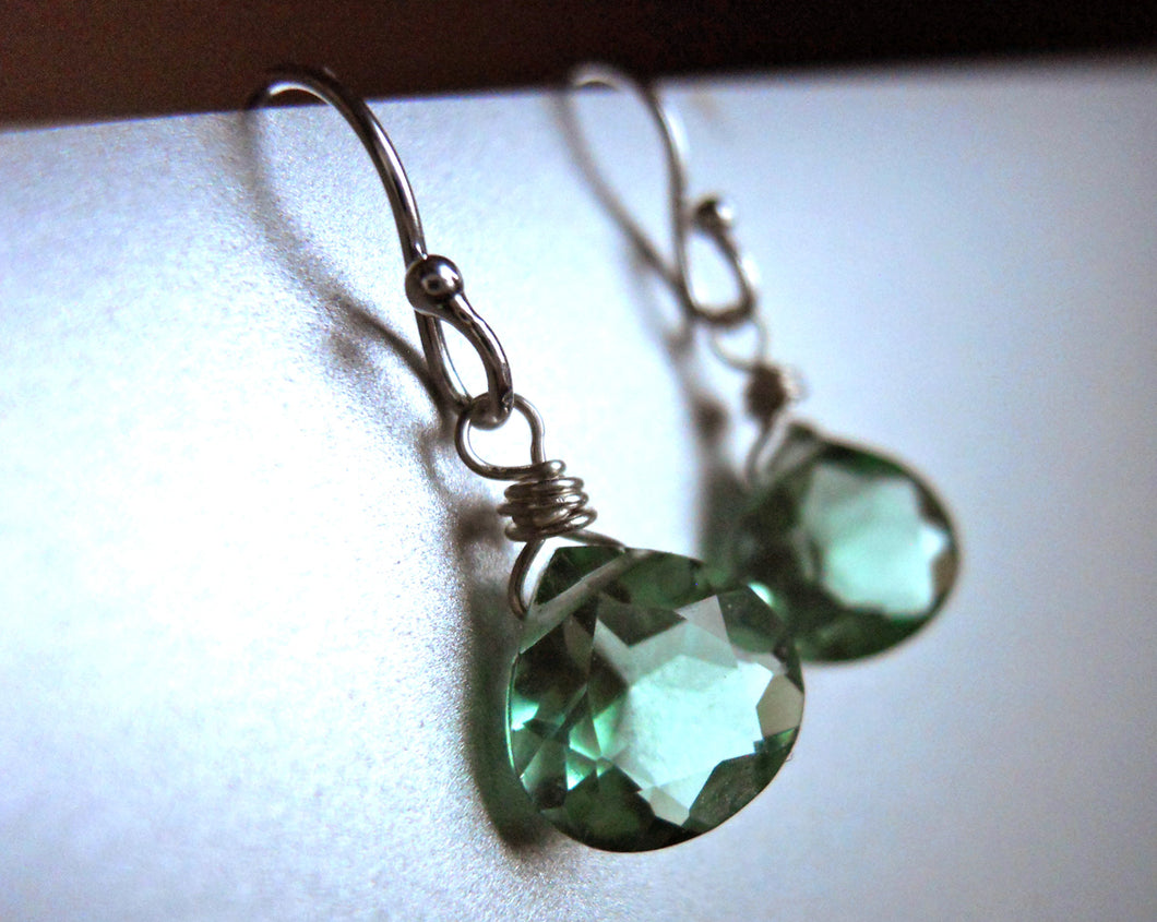 Amethyst Green Earrings - Sterling or Gold Available