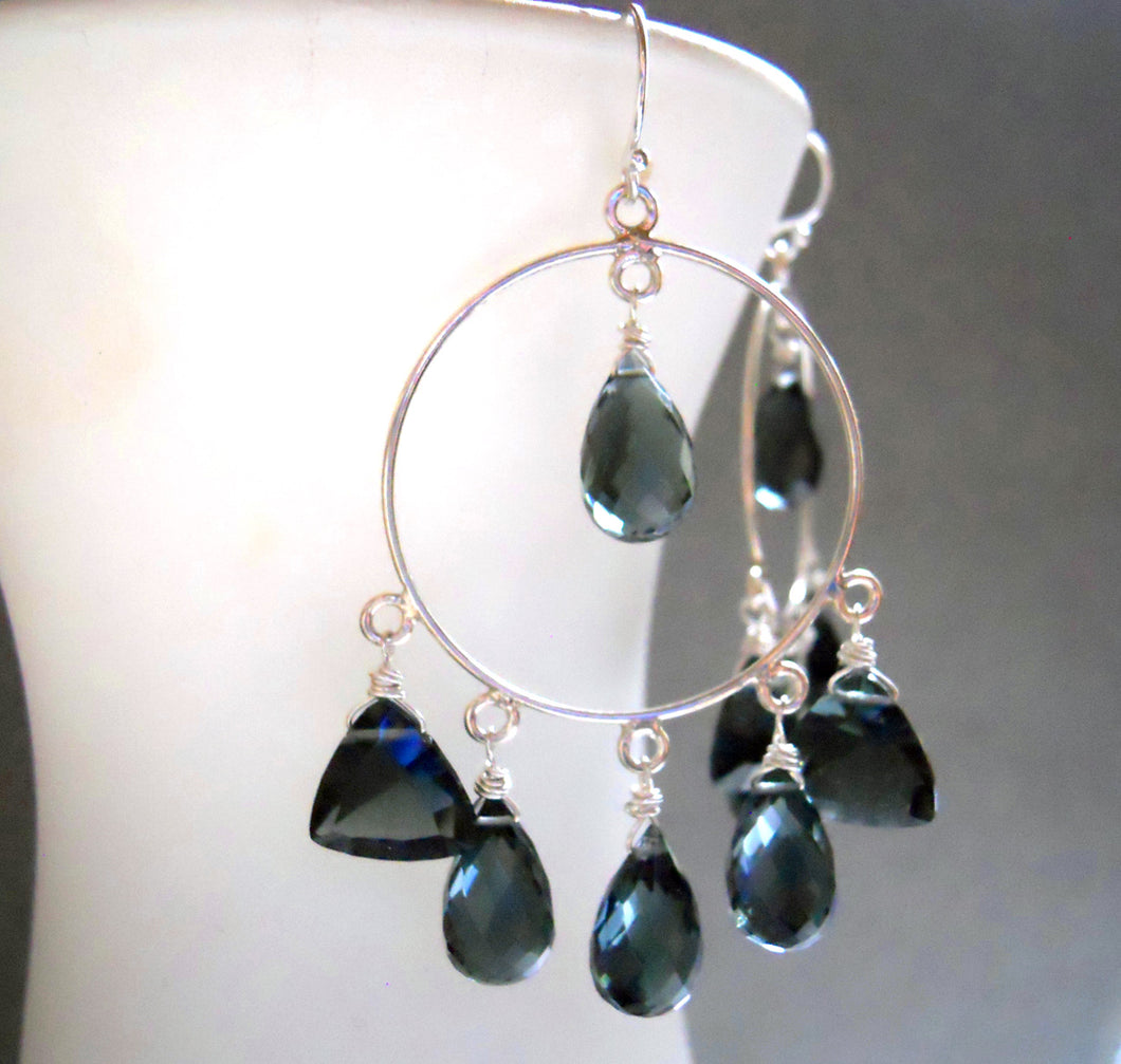 Thunder Blue Hoop Earrings, Limited edition
