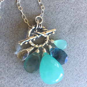 Sea Goddess Toggle Necklace, Huge Chalcedony and Fluorite, OOAK