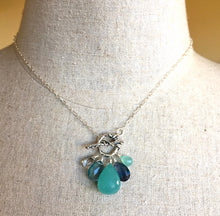 Load image into Gallery viewer, Sea Goddess Toggle Necklace, Huge Chalcedony and Fluorite, OOAK