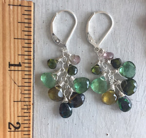 Absolutely fabulous Tourmaline Cluster Dangles, OOAK #1
