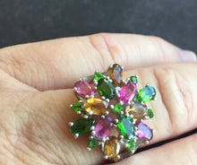 Load image into Gallery viewer, Colorful Chrome Diopside and Tourmaline Statement Ring, size 8, OOAK