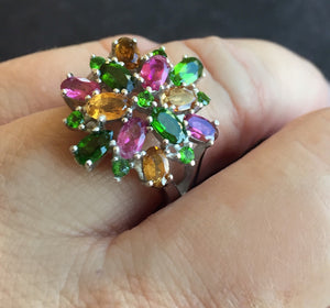 Colorful Chrome Diopside and Tourmaline Statement Ring, size 8, OOAK