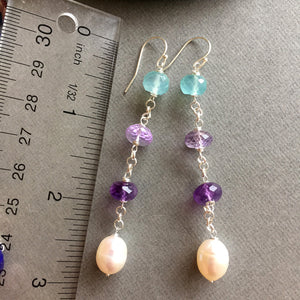 Pearly gemstone dangle earrings, limited quanitity