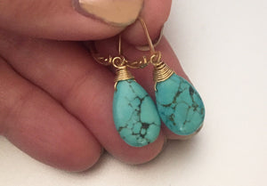 Turquoise Large Dangle earrings, Sterling Silver, Gold filled or Rose Gold filled.