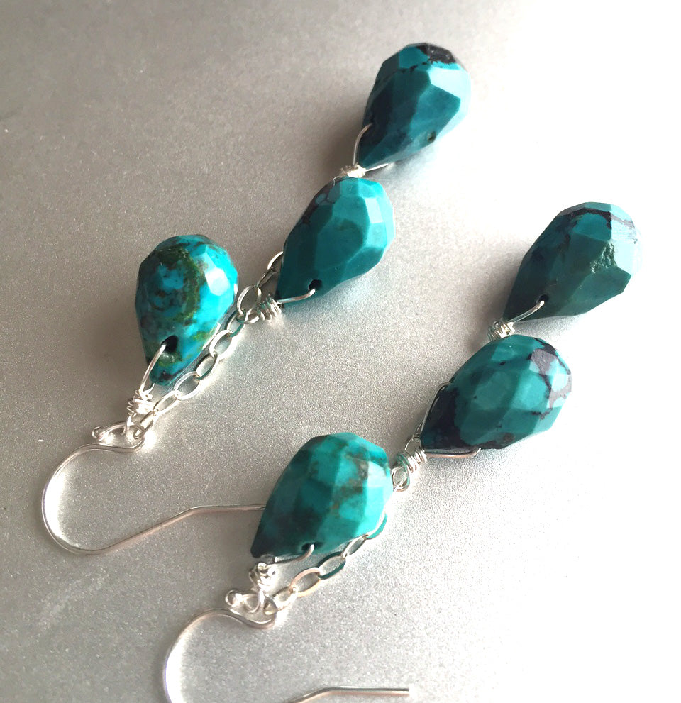 Turquoise Lover Earrings, TRIPLE stone, Gold, Sterling or Rose Gold
