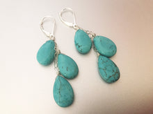 Load image into Gallery viewer, Turquoise Trio Dangle earrings, Sterling Silver, Gold filled or Rose Gold filled.