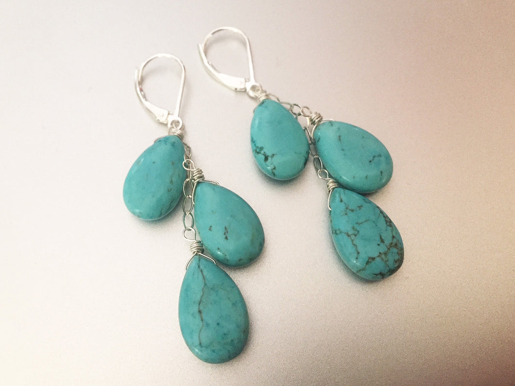 Turquoise Trio Dangle earrings, Sterling Silver, Gold filled or Rose Gold filled.