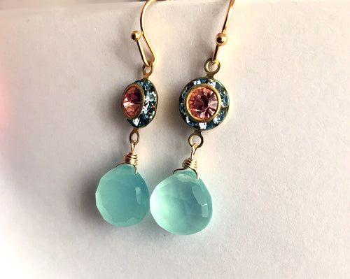 Aqua and Color of The Year 2019, Living Coral, Vintage Dangles