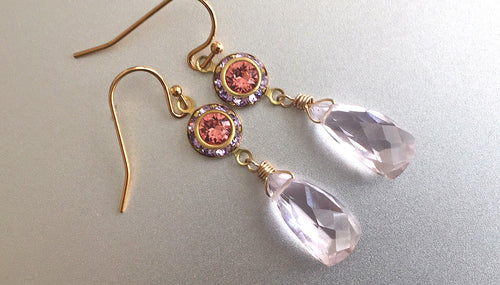 Color of The Year, Living Coral, Vintage 1950's Swarovski crystal and Morganite Pink Pyramids
