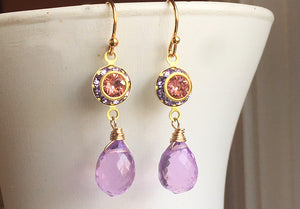 Color of The Year, Living Coral, Vintage 1950's Swarovski crystal and Radiant Orchid Dangles