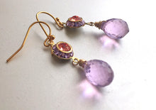 Load image into Gallery viewer, Color of The Year, Living Coral, Vintage 1950's Swarovski crystal and Radiant Orchid Dangles