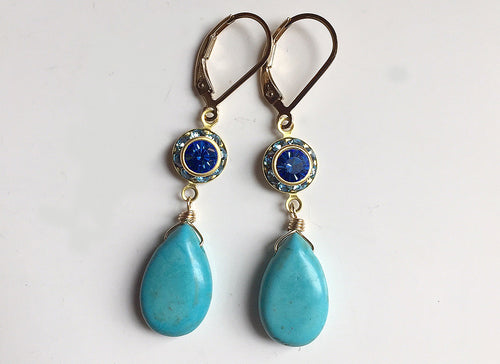 Turquoise Vintage Crystal Dangles