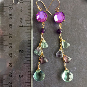 Fluorite and Vintage Swarovski Dangles, mixed metal, OOAK