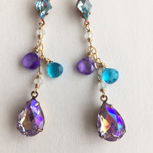 Load image into Gallery viewer, Violets in Springtime Dangles, Mixed Metal