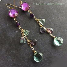 Load image into Gallery viewer, Fluorite and Vintage Swarovski Dangles, mixed metal, OOAK