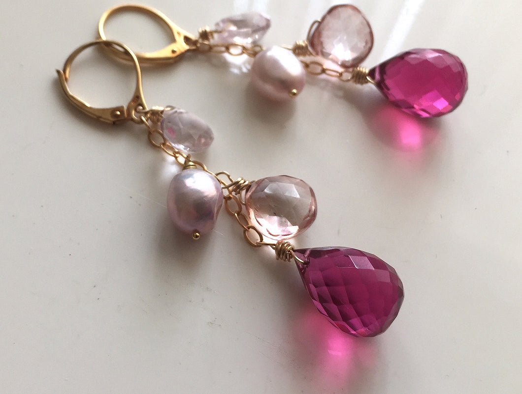 Pink Whimsy Earrings, GOLD