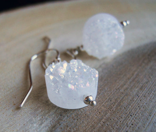 Sugar Drops Single White Druzy Earrings