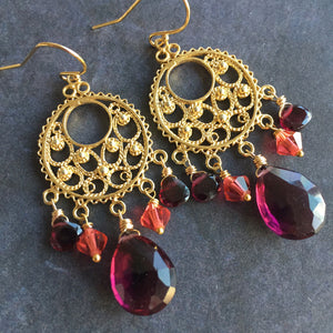 Wine Time Chandelier Earrings, OOAK