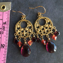 Load image into Gallery viewer, Wine Time Chandelier Earrings, OOAK