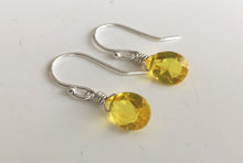 Load image into Gallery viewer, Zesty Lemon Pear Cut Teenie Earrings- Sterling or Gold