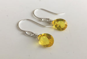 Zesty Lemon Pear Cut Teenie Earrings- Sterling or Gold