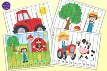 Load image into Gallery viewer, Farm Theme Number Order Puzzles 1-20, skip counting, and fillable PDF