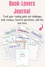 "Load image into Gallery viewer, Text ""book-lovers journal to track your reading goals and challenges, book reviews, favorite quotations, wish list, and more"" above a preview of a printable reading journal with pastel rainbow colors"