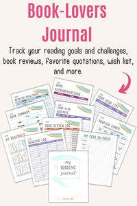 "Text ""book-lovers journal to track your reading goals and challenges, book reviews, favorite quotations, wish list, and more"" above a preview of a printable reading journal with pastel rainbow colors"