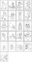 Load image into Gallery viewer, A screenshot with a grid of 21 prinabel cute winter animal coloring pages with cartoon penguins, polar bears, and seals to color